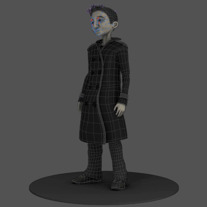 Boy wireframe and rig 1